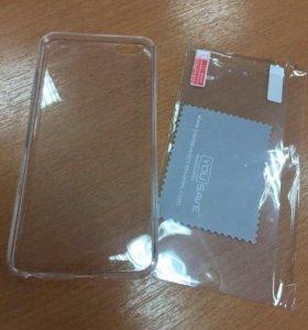 Чехол и защитное стекло на айфон 6