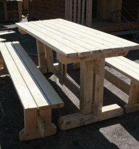Стол деревянный садовый 1м