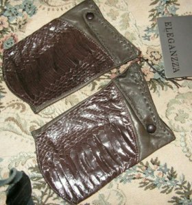 Перчатки-митенки из кожи питона