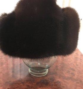 Мужская норковая шапка-ушанка, р.59