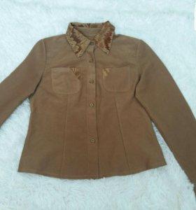 Женская рубашка тёплая коричневая длинный рукав