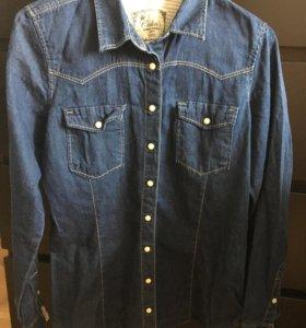 Рубашка джинсовая, женская, размер M