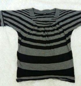 Женская кофта рубашка в полоску короткий рукав