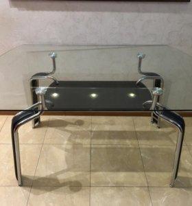 Стол стеклянный 145х90 ручной работы