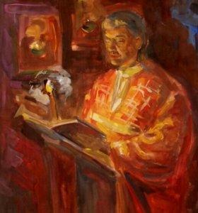 """Картина, """"Чтение шестопсалмия"""", гуашь, а-3."""