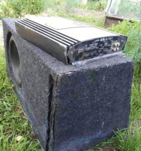 Сабвуфер, усилитель 4х канальный, провода.