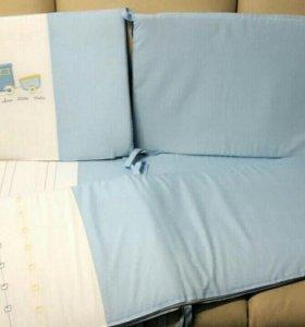 Бортики в кроватку+балдахин+ортопедическая подушка