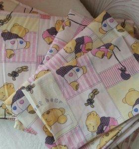 Комплект постельного и бортики на кроватку