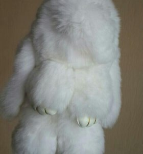 Заяц-брелок белый 18см (нат.мех)