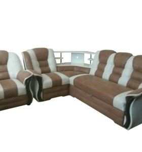 """0386 диван угловой """"Аделина"""" с баром и креслом"""