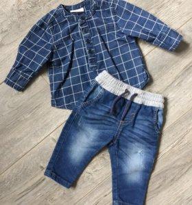 Рубашка + джинсы 62см