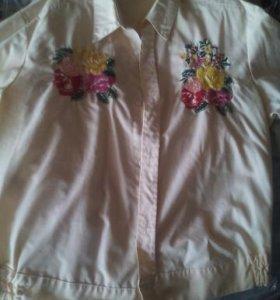 Рубашка жёлтого цвета с вышивкой