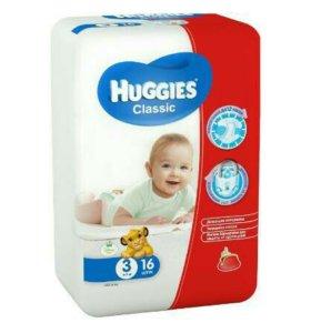 Подгузники Huggies Classic 3 (4-9 кг) 16 шт .
