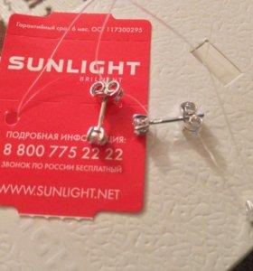Серебряные серьги-гвоздики •Sunlight•