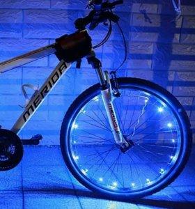 Новая подсветка для колёс велосипеда (синяя)