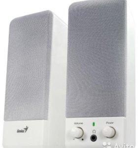 Колонки новые genius sp-p110 stereo speakers в коробке,цвет белый