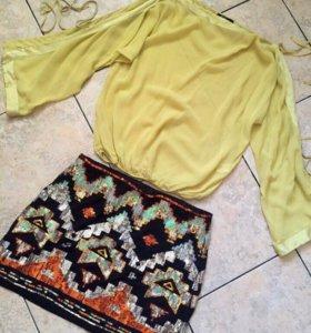 Шелковая лимонная рубашка BGN оригинал