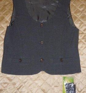 """Новая школьная жилетка серого цвета фирмы """"Смена"""""""