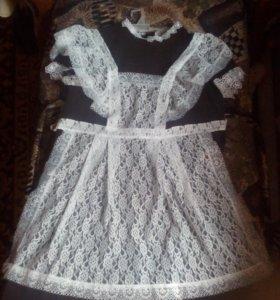 Школьное платье + белый фартук