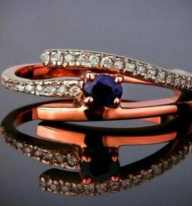Бриллиантовое золотое кольцо дорожка с сапфиром