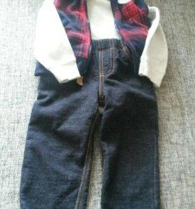 Комплект carter's: боди, джинсы, безрукавка