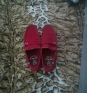 Обувь , красные мокасины