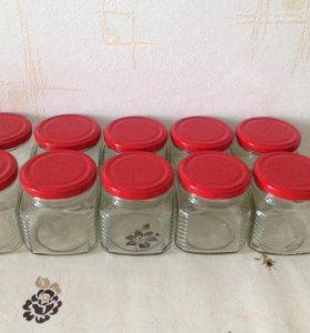 Ёмкости стеклянные с крышками 10 шт для специй