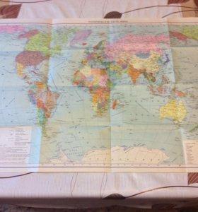 большая политическая карта мира во весь стол