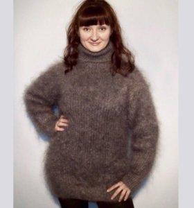 Мохеровое платье, вязаное, пушистое
