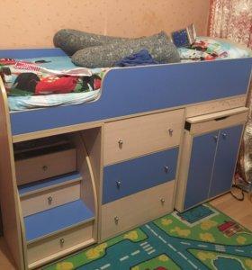Кровать чердак Ярофф Малыш + ортопедический матрас