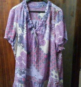 Легкая шифоновая блузка, 56-58 размера
