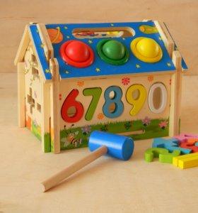 Игрушка деревянная домик сортер стучалка