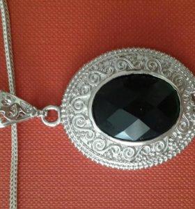Кулон серебро с изумрудом