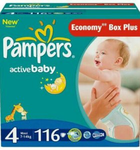 Подгузники pampers active baby 4 (7-14 кг) 58 шт
