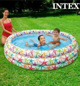 Детский надувной бассейн. Морские звёзды.