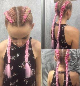 Плетение кос с канекалоном, цветные брейды