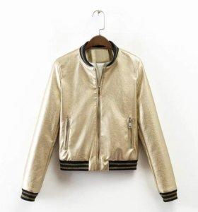 куртка золотая полу-коженая