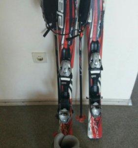 Горные лыжи детские 100 см Elan+шлем,ботинки,палки