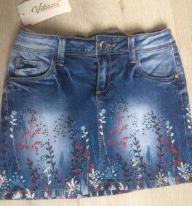 Джинсовая юбка для девочки. Новая