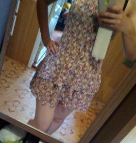 Летнее шёлковое платье. Длина- 60 см.