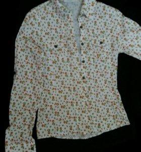 Женская рубашка белая в цветочек для подростков