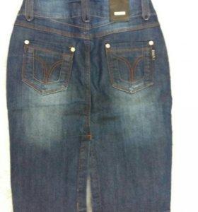 Женская юбка джинсовая длинная до колена