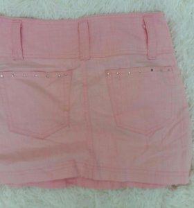 Подростковая розовая мини юбка для девушек стразы