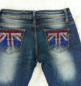 Подростковые женские джинсы с блестками пайетками