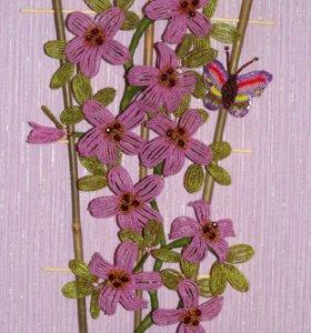 Цветы из бисера. Панно из бисера.
