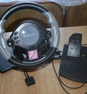 Игровой руль Defender с педалями и коробкой переда