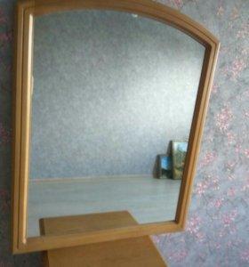 Тумбочка, зеркало, массив сосны