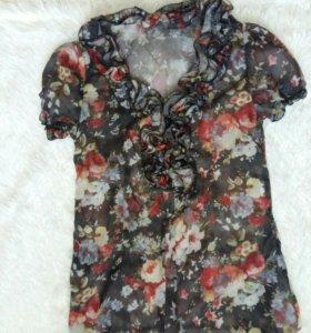 Женская блуза прозрачная с коротким рукавом
