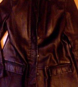 Натуральная кожаная куртка-пальто 44-46