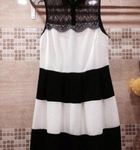 Платье черно-белое новое